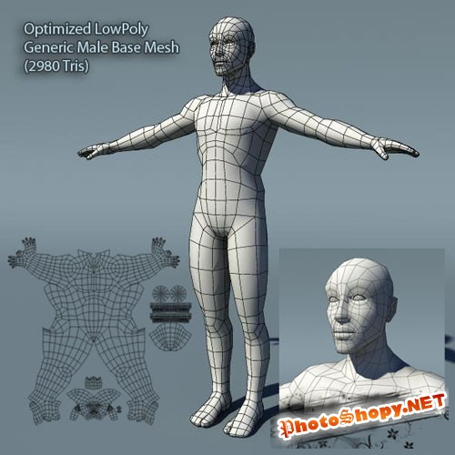 3docean - Optimized Low Poly Male Human Base Mesh Version1.0