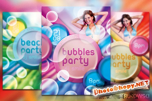 Bubbles Party Flyer PSD Template