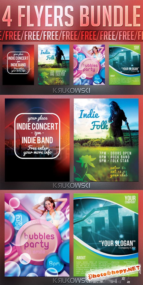 Indie Concert Party Flyer/Poster Templates Bundle
