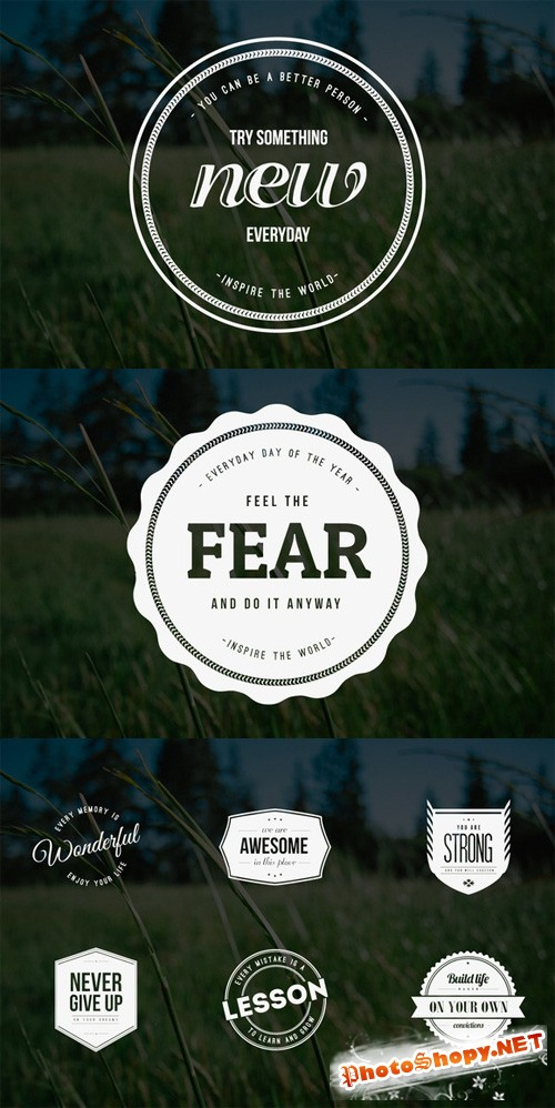 Vector and PSD Vintage Logos and Badges Quote Style