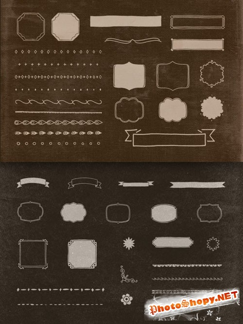 Hand Illustrated Retro/Vintage Shapes PSD Template Vol. 2