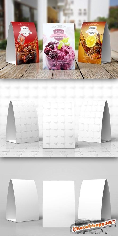 Professional Presentation Paper Table Tent Mock-up PSD Template