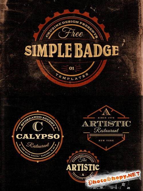 3 Retro/Vintage Style Simple Badges Template v.1