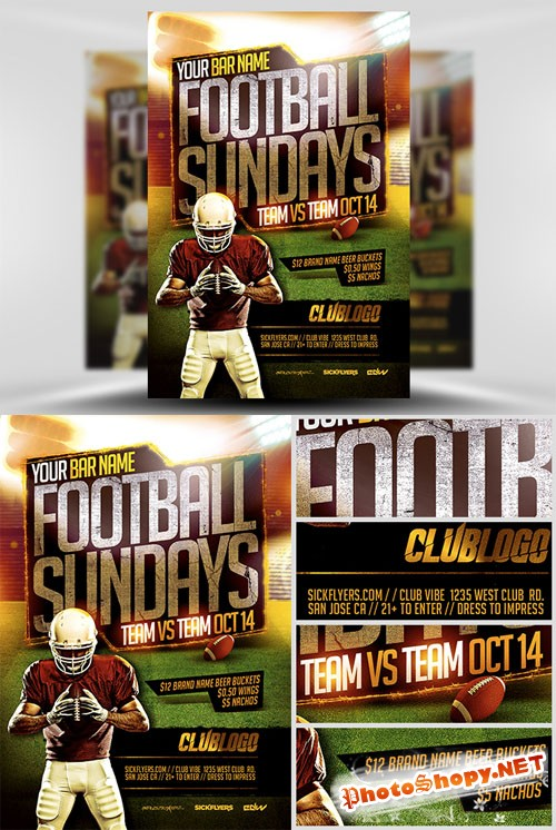 Football Sundays Flyer Template 2 PSD
