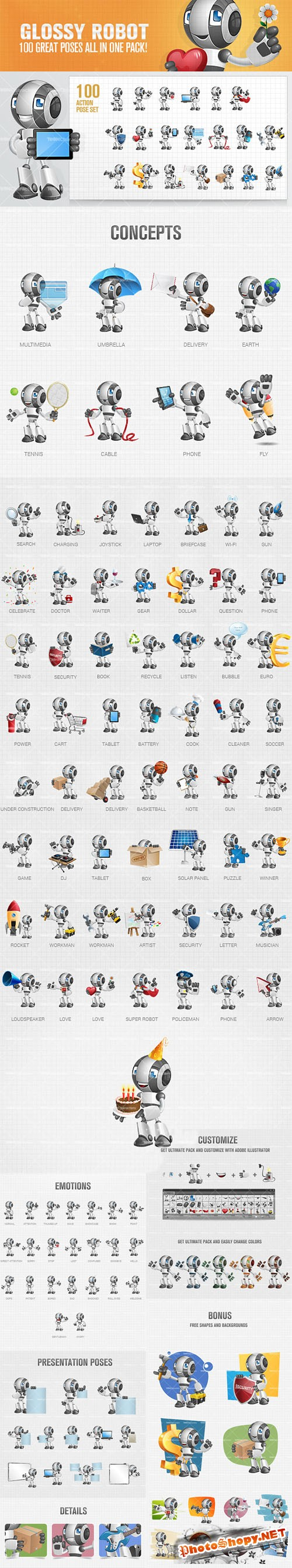 Glossy Robot Cartoon Character Vector Elements