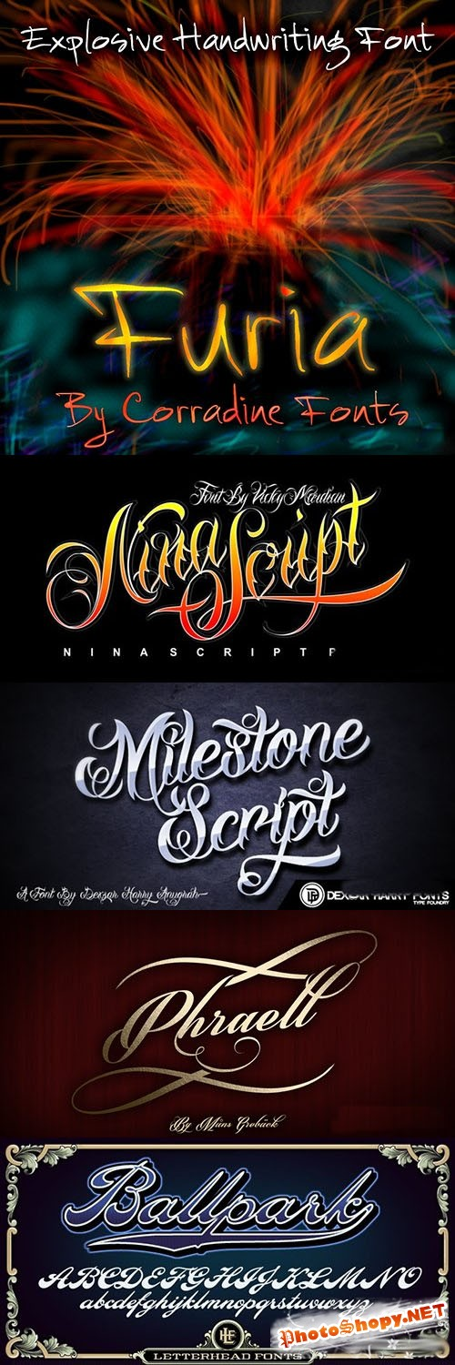 Explosive Handwriting Fonts Family Bundle