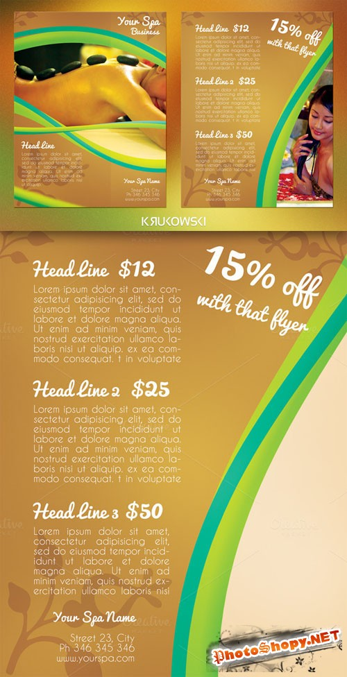 CreativeMarket - Spa 2 Sided Flyer 43655