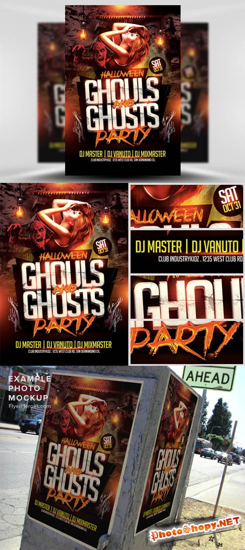 Ghouls and Ghosts Halloween Flyer Template