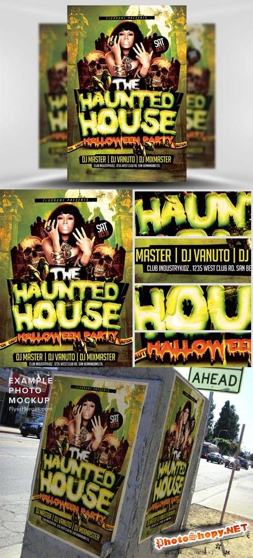 Haunted House Halloween Flyer Template