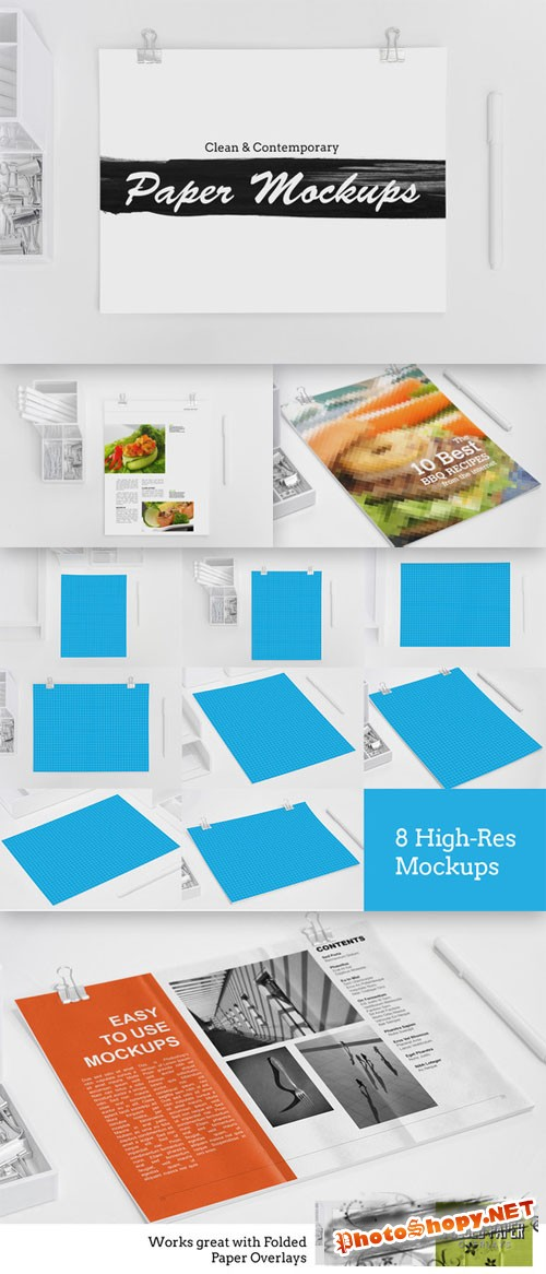 CreativeMarket - 8 Clean & Contemporary Paper Mockups 20832