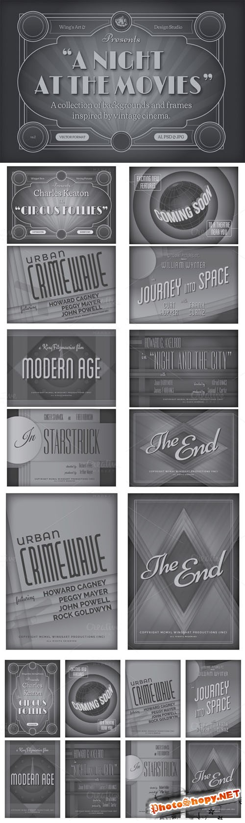 CreativeMarket - Vintage Movie Backgrounds and Frames 41144