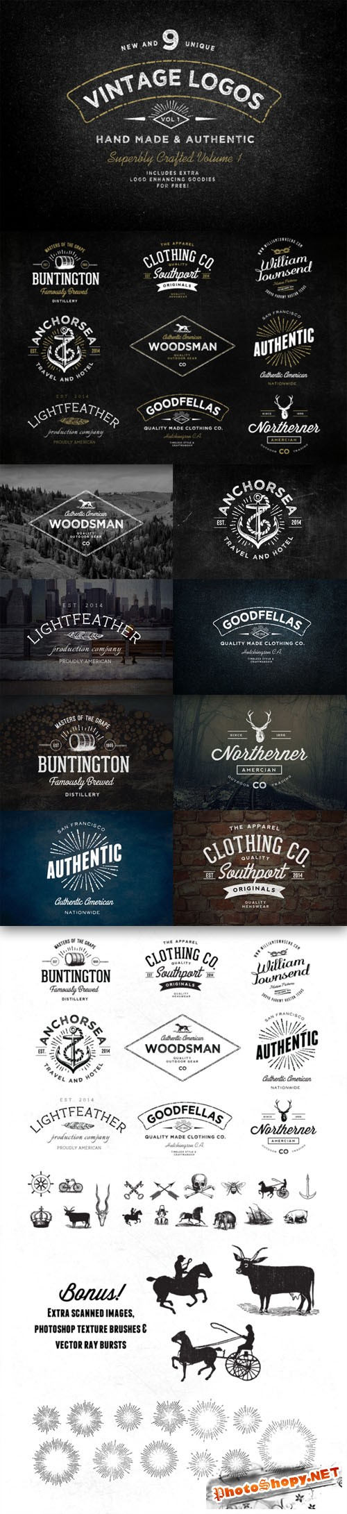 CreativeMarket - Vintage Logo Bundle and Extras 29087