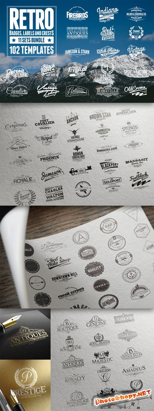 CreativeMarket - 102 Retro Badges, Labels and Crests 28041