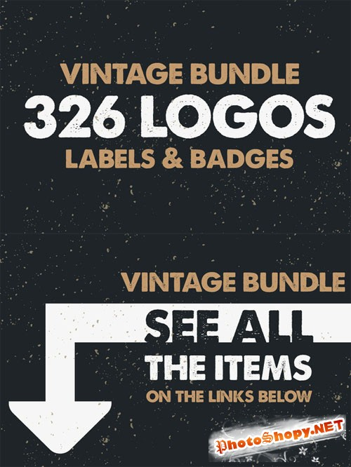 CreativeMarket - MEGA BUNDLE 326 Vintage Logos Badges 70379
