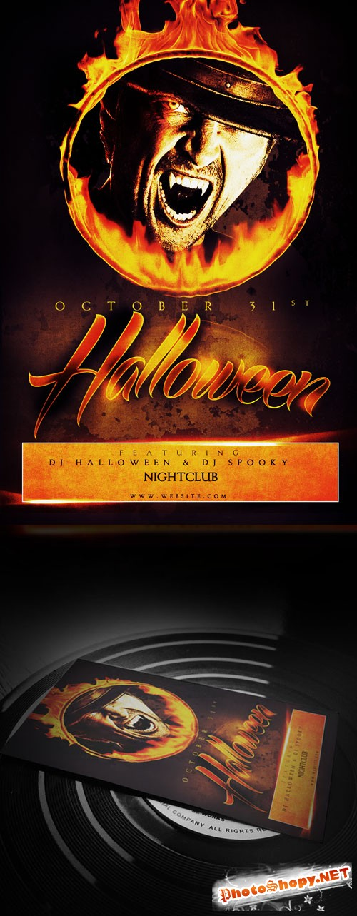 Flyer Template PSD - Halloween Flame