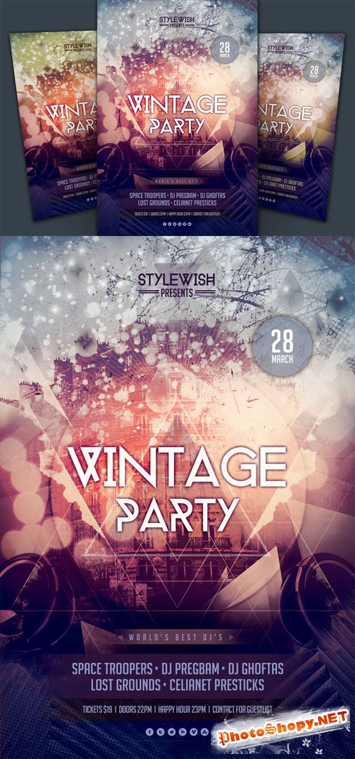 Creativemarket - Vintage Party Flyer 22991
