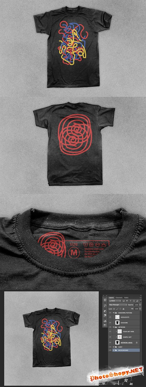 Creativemarket - Realistic Black T-shirt Mock Up 89662