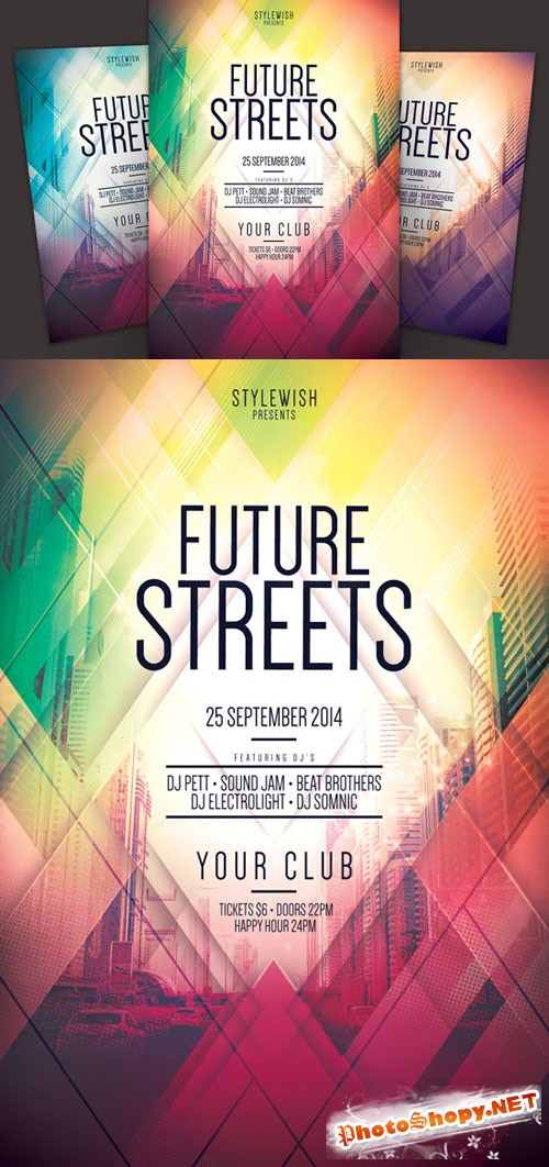Creativemarket - Future Streets Flyer 66563