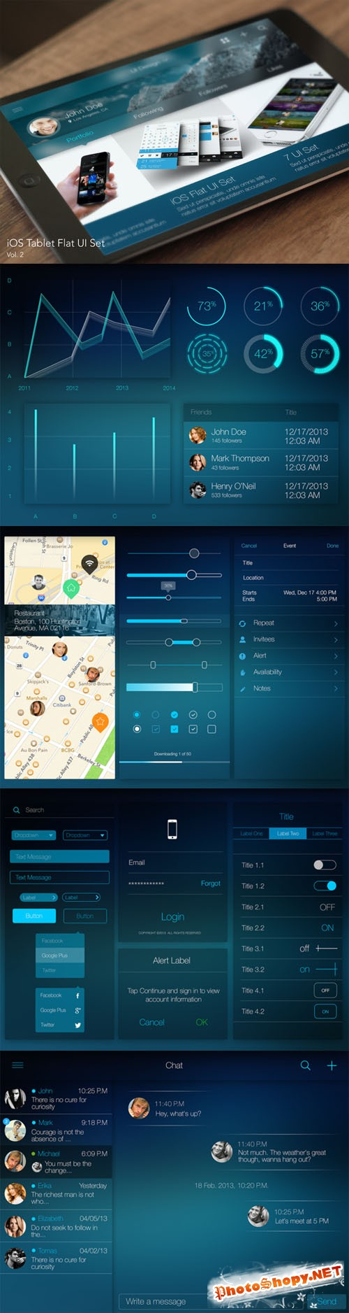 CreativeMarket - iOS Tablet Flat Pad UI Set Vol. 2