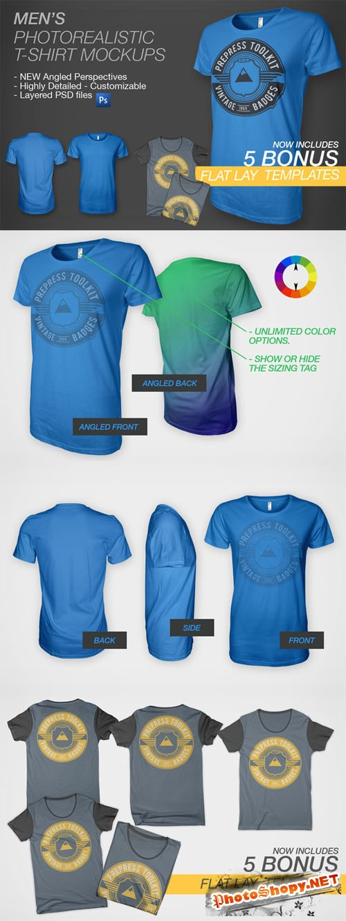 CreativeMarket - Men's Ghosted T-Shirt Mockups