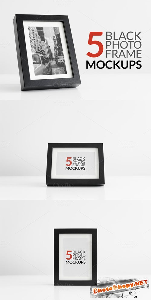 CreativeMarket - 5 Black Photo Frame Mockups