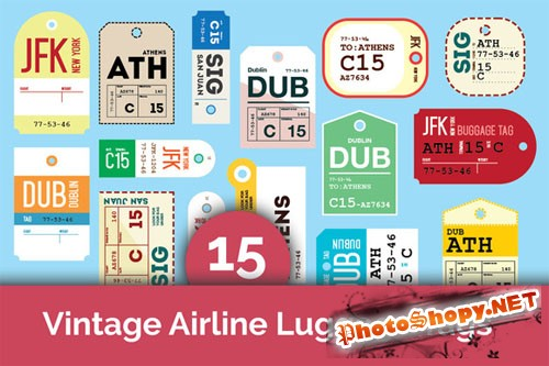 CreativeMarket - 15 Vintage Airline Luggage Tags