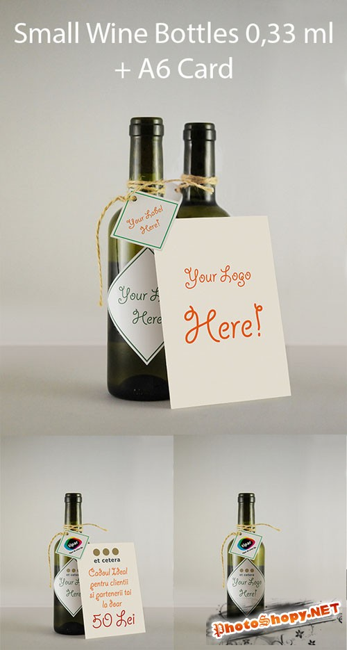 CreativeMarket - Wine Bottles Mockup 033ml +A6Card