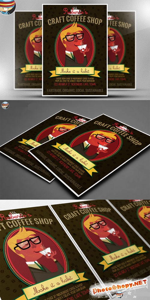CreativeMarket - Craft Coffee Flyer Template