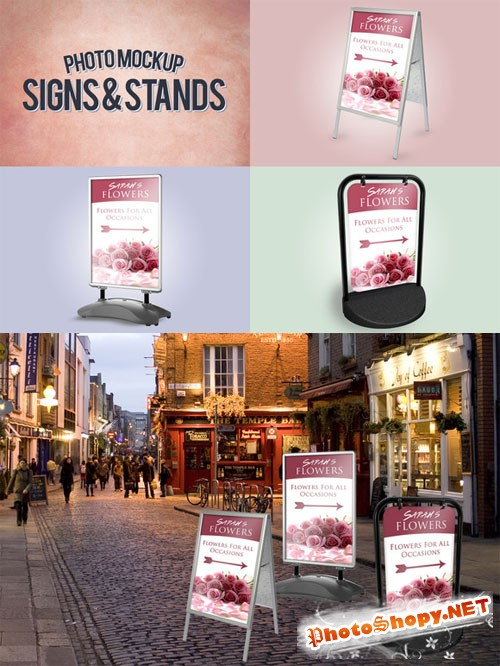 CreativeMarket - Signs & Stands Photo Mockup
