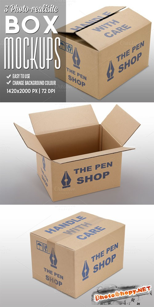 CreativeMarket - 3 Photo-realistic Box Mockups