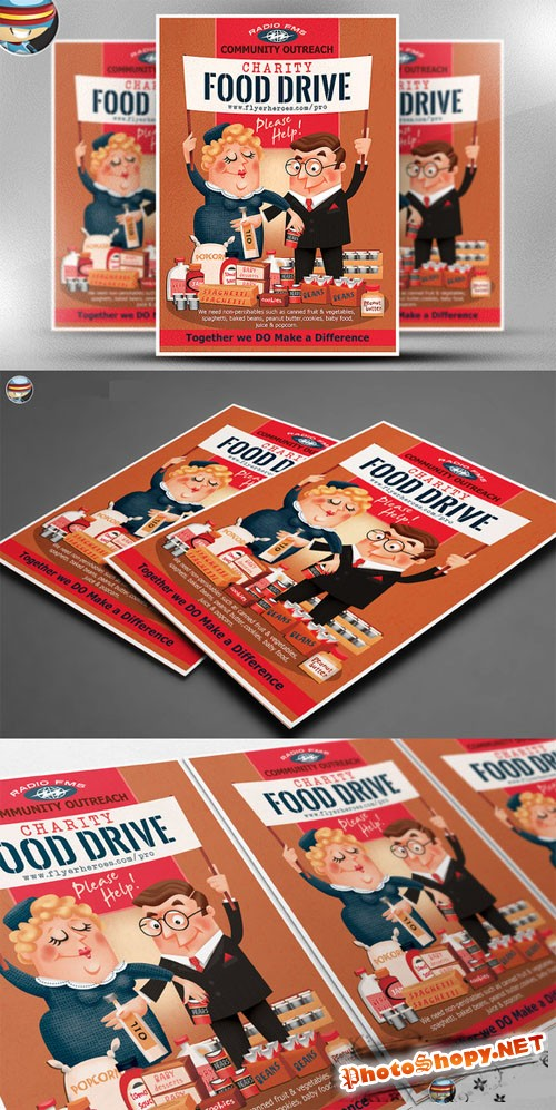 CreativeMarket - Charity Food Drive Flyer Template