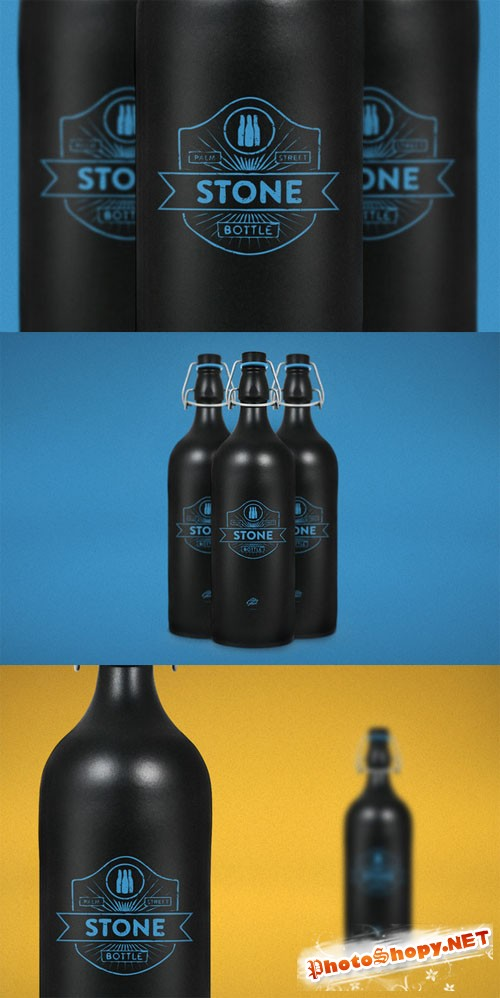CreativeMarket - Stone Bottle Mock-Up
