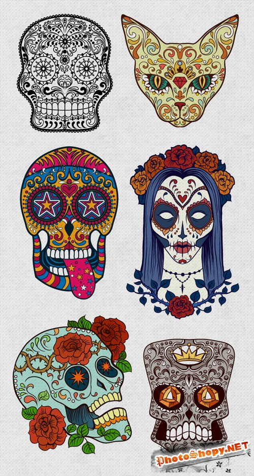 6 Sugar Skulls Vector Elements