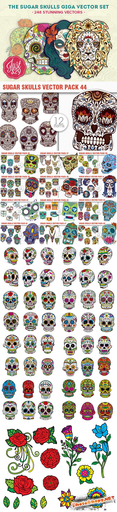 The Sugar Skulls Giga Vector Set - 248 Stunning AI, EPS Vectors