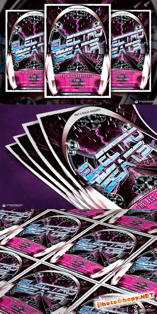 CreativeMarket - Electro Beats Flyer Template