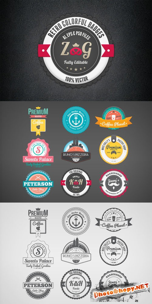 CreativeMarket - Retro Colorful Badges