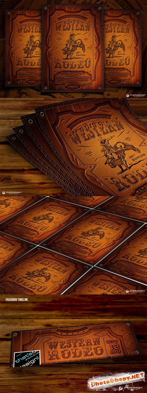 CreativeMarket - Western Rodeo Flyer Template