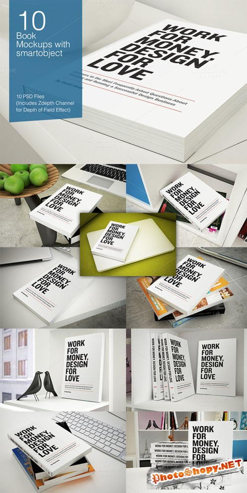 CreativeMarket - Book Mock-ups - 10 poses