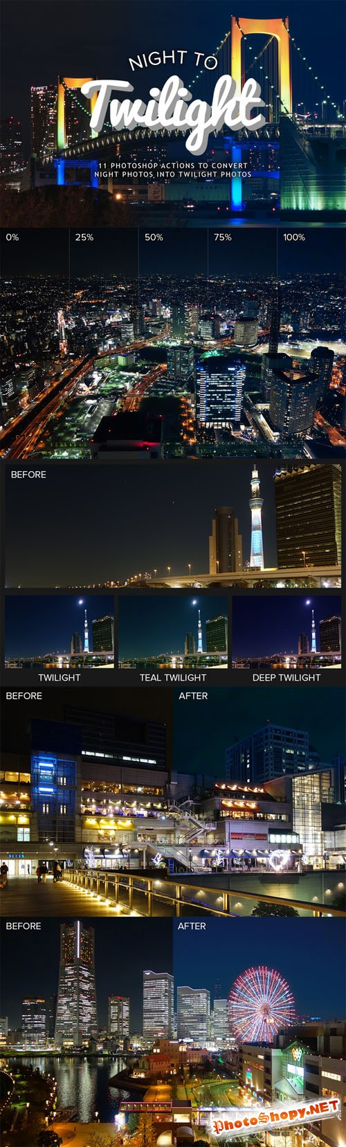 CreativeMarket - Night to Twilight Photoshop Actions