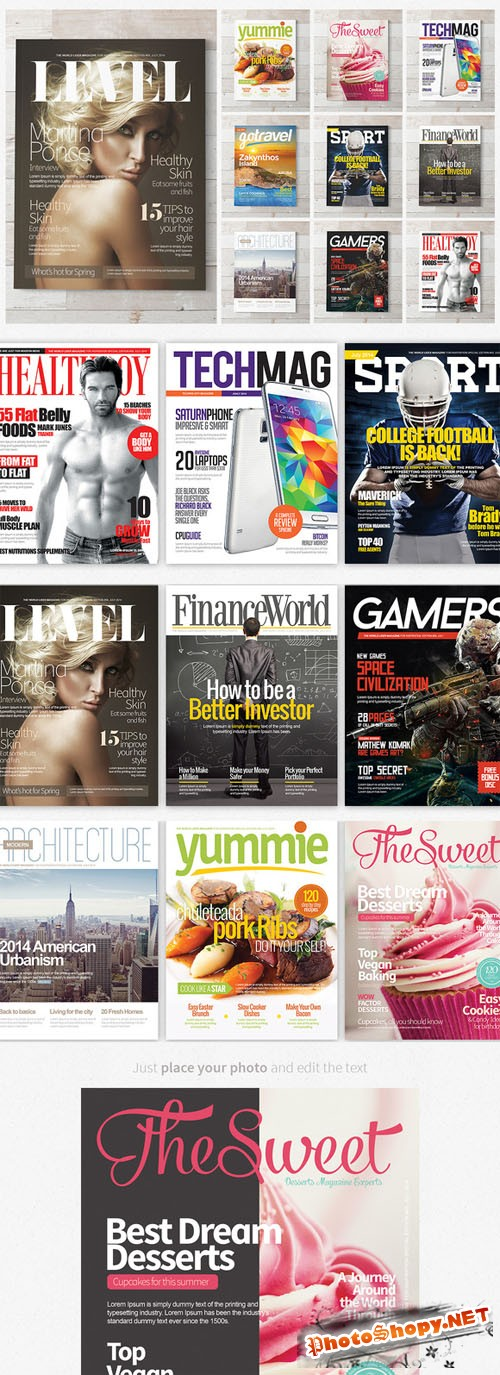 CreativeMarket - Magazine Covers Templates PSD