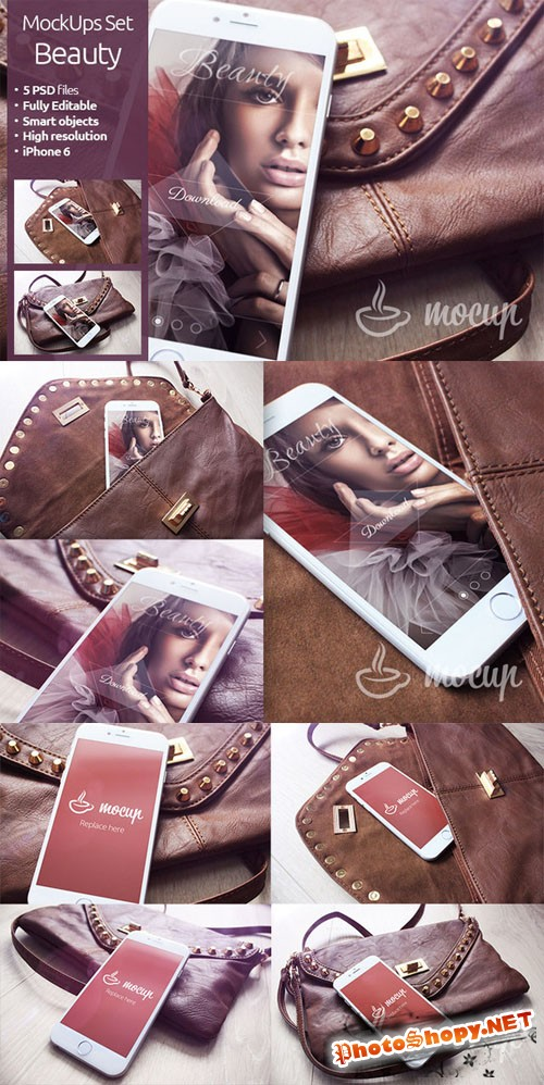 CreativeMarket - PSD iPhone 6 Mockups Set Beauty