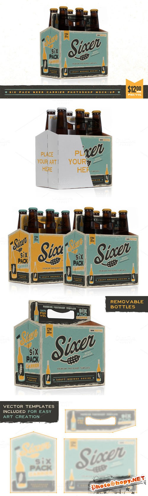 CreativeMarket - Six pack beer bottle carrier Mock-Up