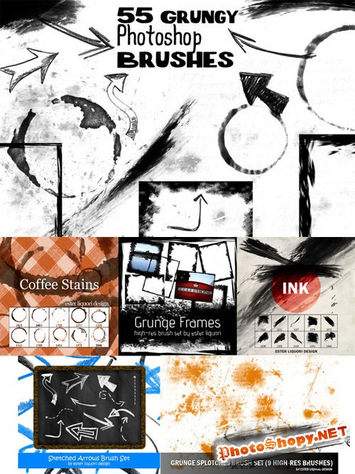 55 Grunge Photoshop Brushes Bundle - CreativeMarket