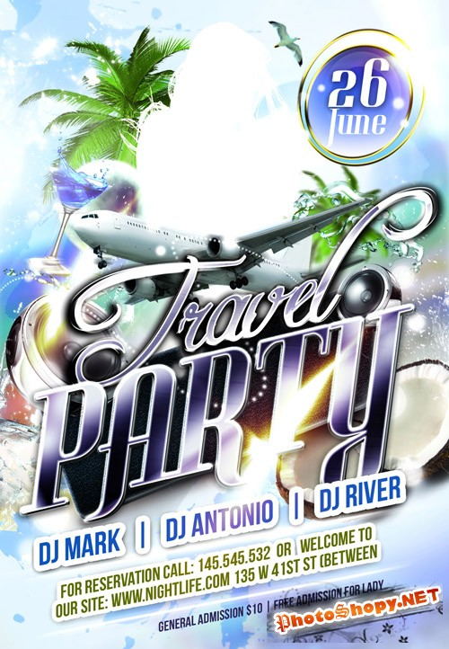Club Flyer Template - Travel Party