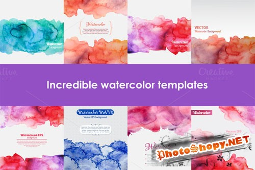 CreativeMarket - Set of watercolor templates