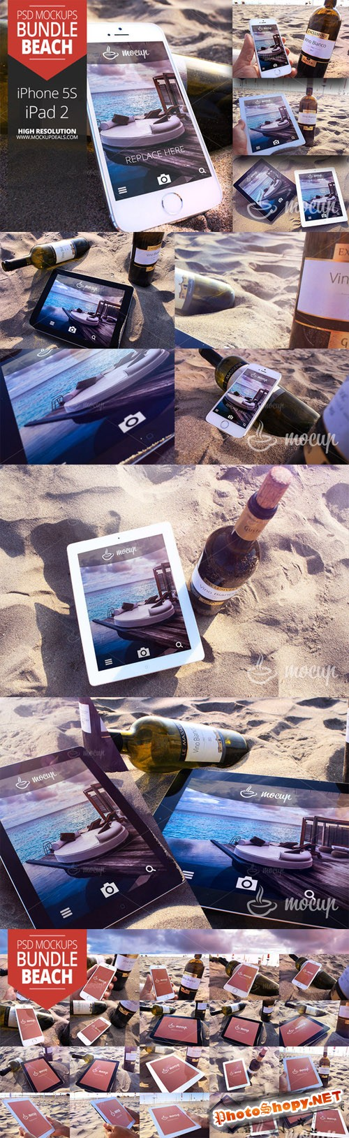 CreativeMarket - 20 PSD Mockups Set Beach