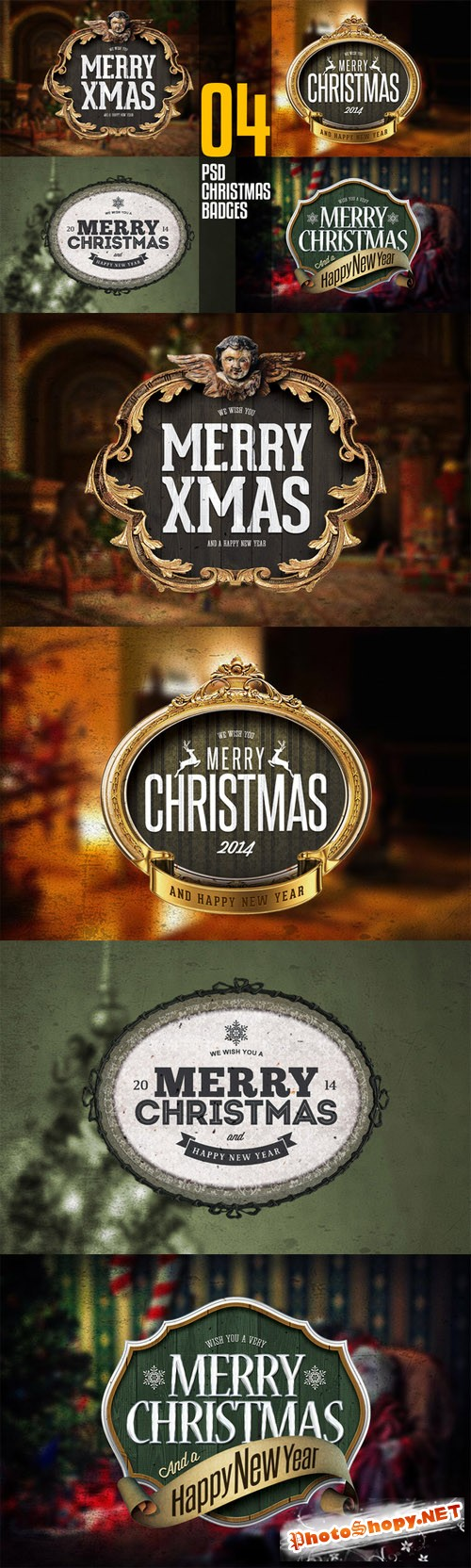 CreativeMarket - 4 PSD Christmas Badges