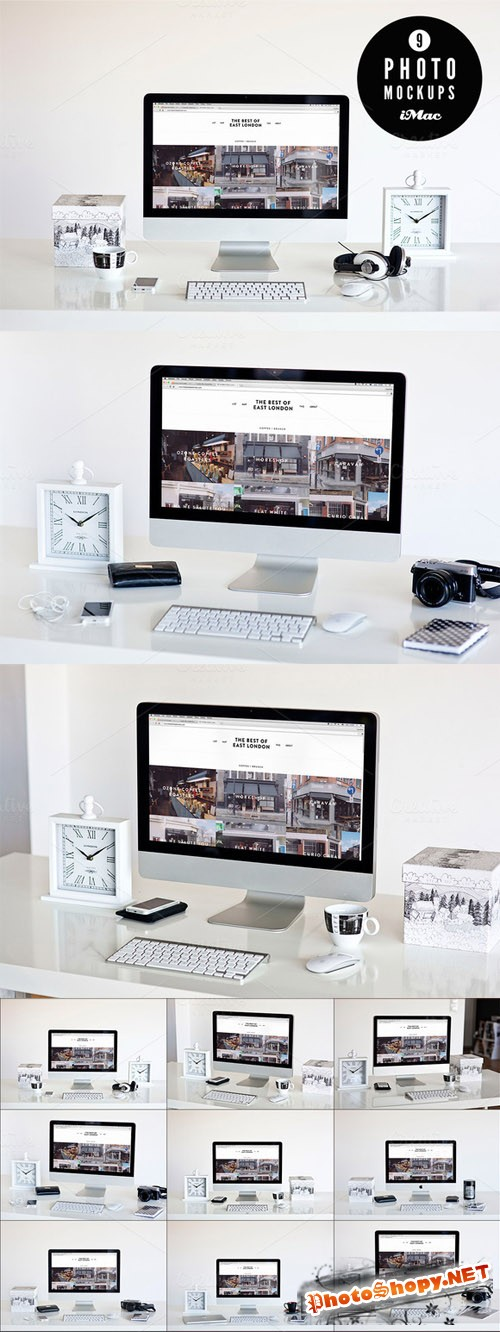 CreativeMarket - B&W 9 iMac photo mockups