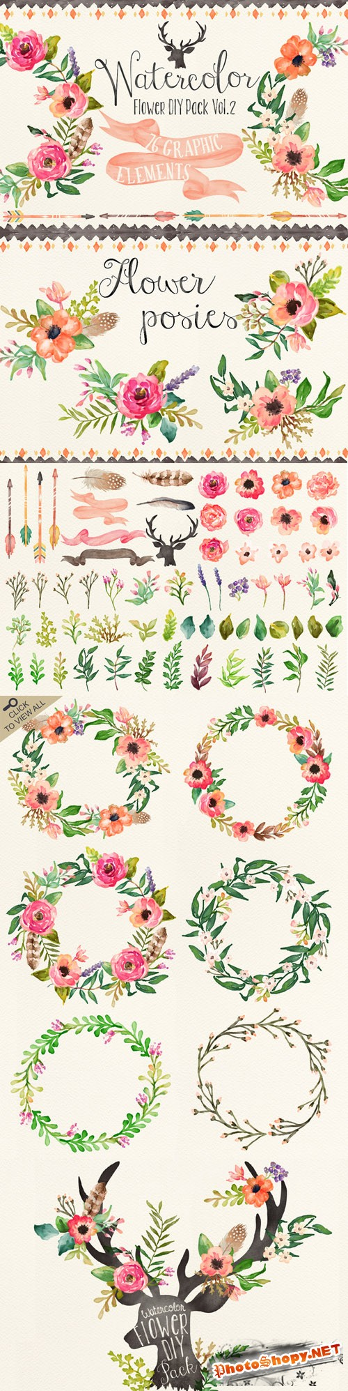 Creativemarket 90995 - Watercolor flower DIY pack Vol.2