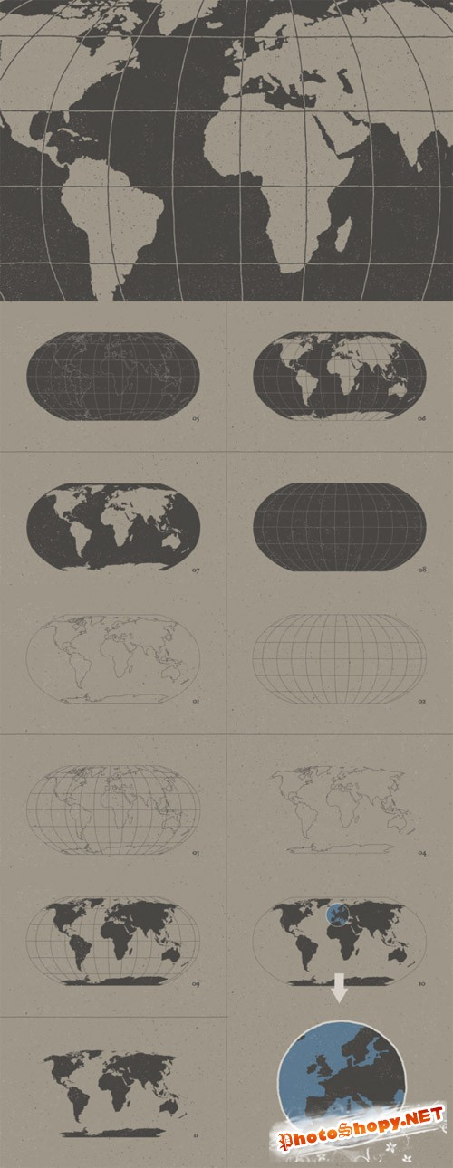 CreativeMarket - Hand Illustrated World Map & Globe 71033